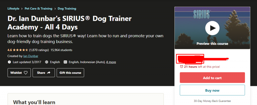 Dr. Ian Dunbar's SIRIUS® Dog Trainer Academy